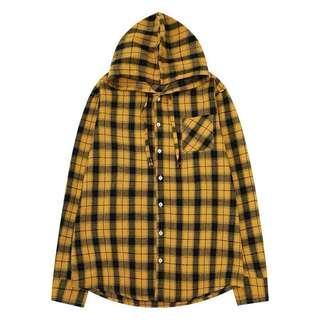 *BRAND NEW* Yellow Checked Hoodie Shirt