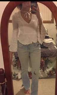 White bell sleeve white peplum long sleeve blouse