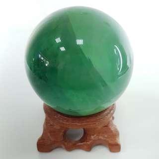 🚚 【沐星藝坊】天然綠螢石異象水晶能量球 家居風水擺件 辦公室裝飾擺件 儀式擺件