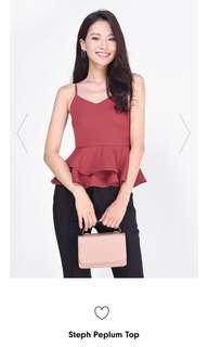 Fayth Steph Peplum Top in Rosewood