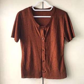 Women's Brown Short Sleeves Shirt  / Top (Size M)