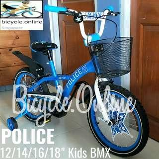 """Kids BMX, POLICE 12,14,16,18"""" Bikes from $119. Brand new bicycles. *Pre-order and get within 1 week. *12"""" OOS. ETA: mid April."""