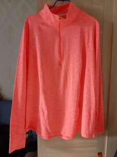 🚚 惜福全新 螢光橘 運動衣2XL  袖口可穿出大拇指 運動 騎車都方便男女都可穿