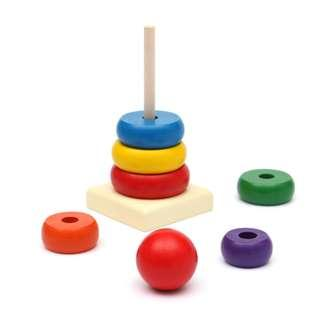 Kids Baby Toy Wooden Rainbow Stacking Ring Tower Educational Toys
