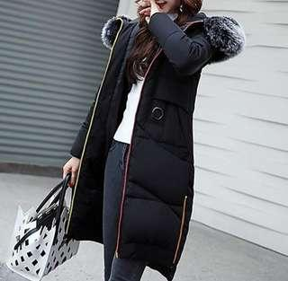 Long Winter Thick Down Jacket Hooded - Removable Hood Hoodie