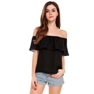 🚚 CLEARING BASIC BLACK RUFFLES OFF SHOULDER