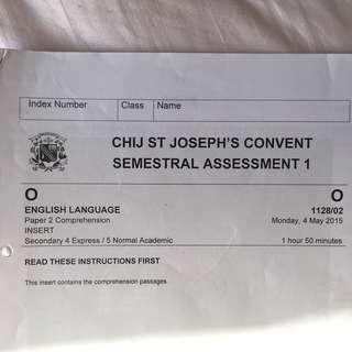 olevel eng chij sjc p2 compre paper w answer scheme