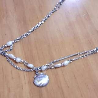 日本異形小珍珠貝殼雙層頸鍊