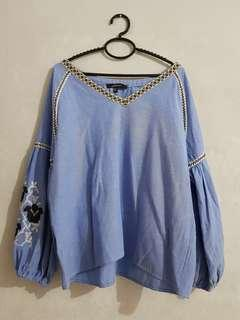 Blue embroidery top