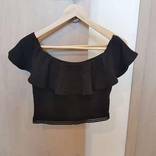Pleated Lace Black Off Shoulder Crop Top