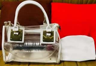 🚚 白色透明手提包/附肩帶可側背/附小化妝包