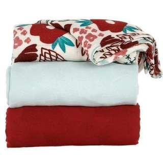 🚚 Tula Blankets Poinsettia (printed + red + ice blue)