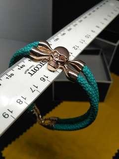 Luxury leather band unisex skull wrist watch fashion