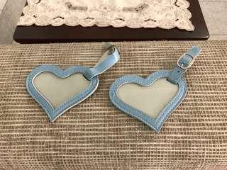Heart Love Grey-Blue Leather Luggage Tags