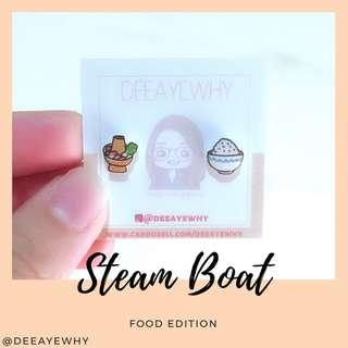 Rice and Steamboat Cute Plastic Ear Studs