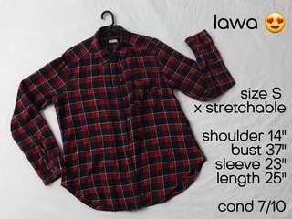 Checkered Top BoyFriend Shirt Baju Murah