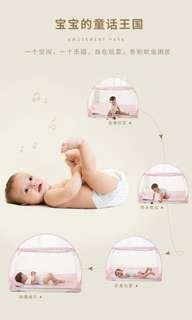 嬰兒床蚊帳 蒙古包 兒童寶寶 bb 防蚊 蚊叮 蚊帳罩 免安裝有底可折疊