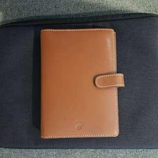 Authentic Rolex Leather Diary Cover 6 Holes - Genuine Brown Leather With Beautiful Edge White Stitches