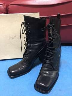 🚚 義大利製真皮馬靴 中筒跟高8公分 8成新 尺碼38.5
