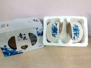 青花瓷器 餐具 兩碗兩匙 碗匙套裝