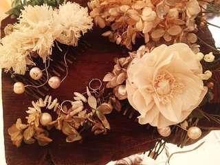 🚚 不凋繡球花珍珠貝殼耳環