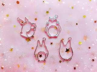 Brand new instock - Silver plated Bezel for Resin Craft - Silver Totoro inspired bezels