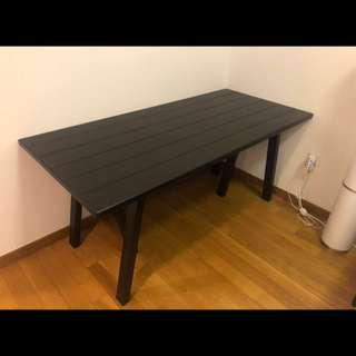 Solid Pine Wood Black Table 160x78cm Dining Table Ryggestad