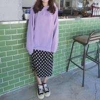 薰衣草紫破破帽T