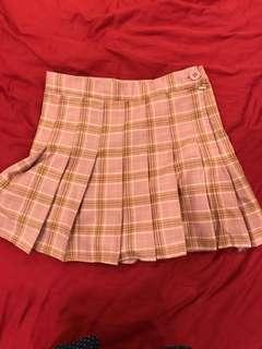 韓國流行高腰顯瘦粉紅百摺格子褲裙