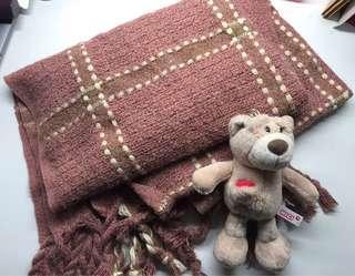 溫柔皮粉色格子圍巾