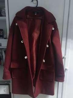 🚚 ⚠️割愛!韓國磚紅厚長版大衣