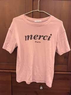 🚚 粉色英文字母上衣T