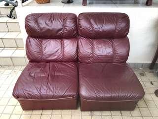 🚚 Comfy Maruhachi Genuine Leather Sofa (2 Pieces)