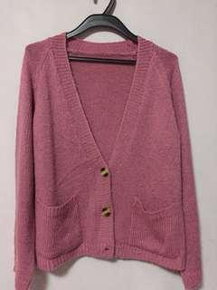 Knitted Oversized Pink Cardigan