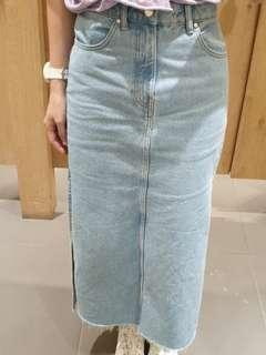 Zara maxi denim skirt with frayed ends and side slit
