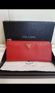 Preloved Red Prada Long Wallet