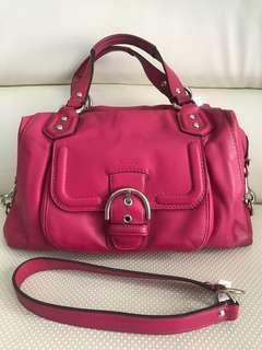 ORI NO KW - Coach Leather Two Way Bag Fuschia