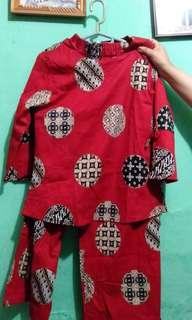 1 Set Baju dan Kulot Batik Merah