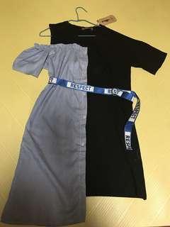 🚚 露肩皮帶造型洋裝