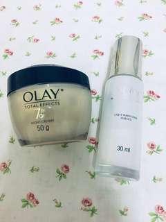 Olay Total Effects Night Cream White Radiance Essence Serum Set of 2