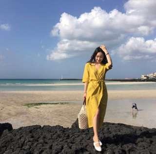 Ladies Yellow cotton beach long dress