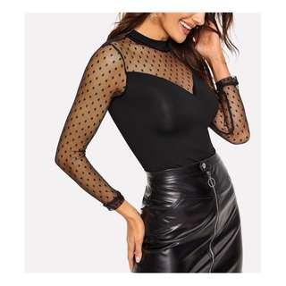 Polka Dot Mesh Long Sleeve Fitted Top