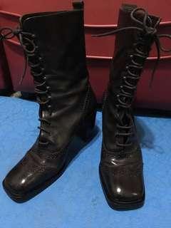🚚 二手真皮中筒靴義大利製