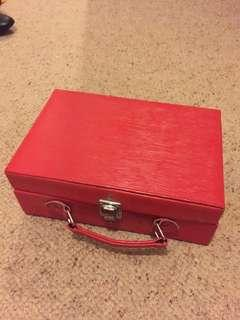 Red leather make up case suitcase box