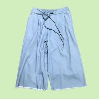 牛仔丹寧八分寬褲 Denim Cutoff Loose Pants