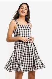 checkered straps dress