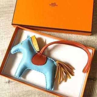 100% Auth Hermes rodeo charm MM Celeste blue RARE