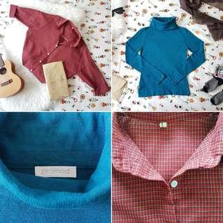 FREE POS Vintage Style Cotton Check Long Sleeve Shirt in Red + PROMOD Cozy Long Sleeve Turtleneck Sweater in Teal