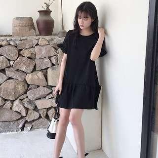 ♥全新韓國MengXinDuo黑色泡泡短袖交叉帶長Tee連身裙❤ Women T-shirt One Piece Dress not Chanel YSL F21 Zara ASOS H&M 歐美