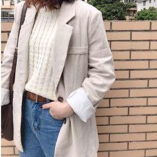 現貨 棉麻直條紋西裝外套 西裝外套 外套 直條紋 韓系 女裝